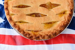 Pie on American Flag Table Cloth