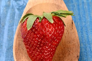 Strawberry on Wooden Spoon