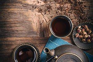 Top view of asian tea set