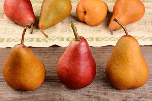 Three Pears Still Life Closeup