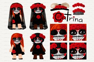 ♥ vector Catrina girls 3