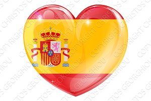 Spain flag love heart
