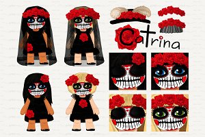 ♥ vector Catrina girls 1
