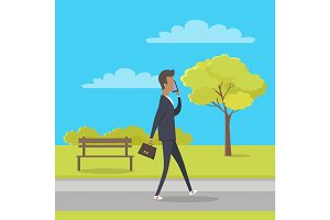Stroll in City Park Flat Vector Illustration
