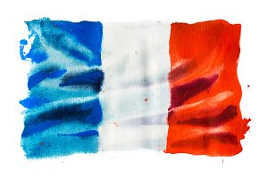 Flag of France, hand drawn watercolor illustration