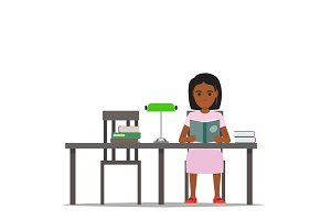 Woman Reading Textbook in Library Flat Vector
