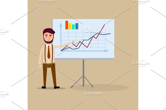 Manager Standing Near Placard With Charts Flat
