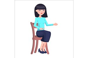 Young Woman Candidate on Job Interview Flat Vector