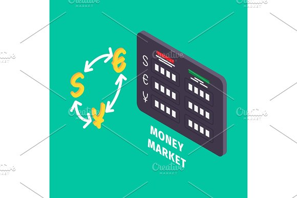 Currency Exchange And Table Of Money Market Icon