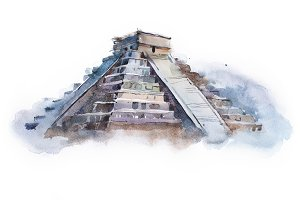 pyramid Chichen Itza in Mexico watercolor drawing. Temple of Kukulkan aquarelle painting