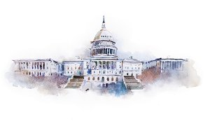 watercolor drawing of the Capitol