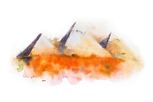 watercolor drawing of Giza Pyramids, Queens Pyramids in Egypt