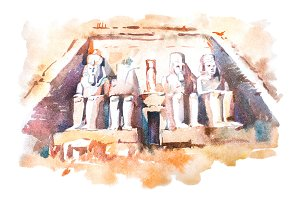 Abu Simbel temples watercolor drawing, Egypt. The Great Temple of Ramesses II aquarelle painting