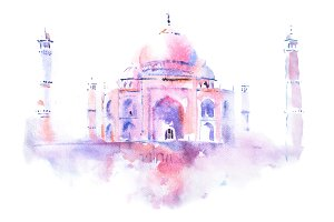 watercolor drawing of Taj Mahal in Agra, India