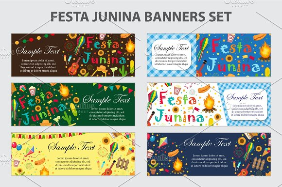 Festa Junina Banner Set With Space For Text Brazilian Latin American Festival Template For Your Design With Traditional Symbols Vector Illustration