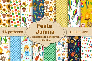 Festa Junina seamless patterns set
