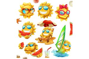 Fun summer sun, vector