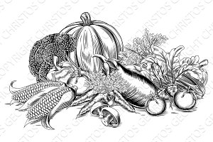 Vintage retro woodcut vegetables