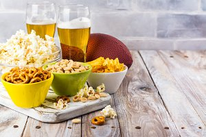 Beer, snacks and rugby ball