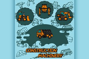 Construction machinery flat concept