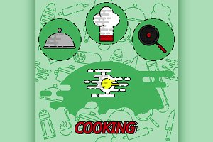 Cooking flat concept icons