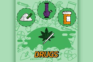 Drugs flat concept icons