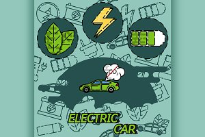 Electric car flat infographic