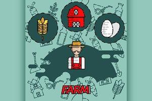 Farm flat concept icons