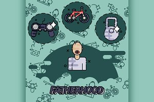 Fatherhood flat concept icons