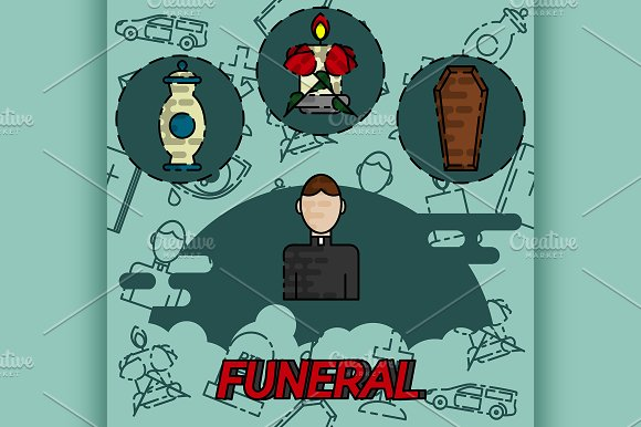 Funeral Flat Concept Icons