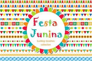 Festa Junina borders and brushes set