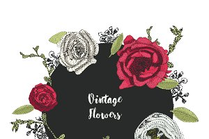 background of vintage red flowers