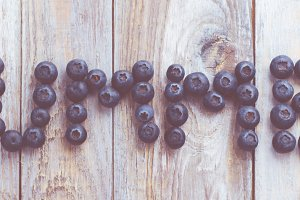 Fresh blueberry on wooden table