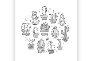 hand drawn vector cactuse set