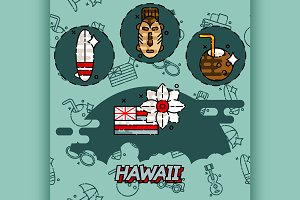 Hawaii flat concept icons