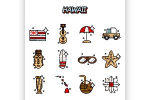 Hawaii flat icons set