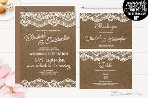 Kraft Paper and Lace Wedding Invite