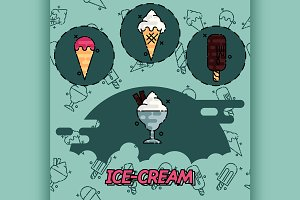 Ice-cream flat concept icons