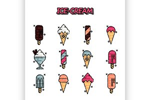 Ice-cream flat icons set