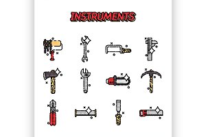 Instruments flat icons set