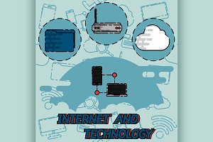 Internet and technology flat concept