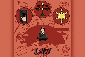 Law flat concept icons