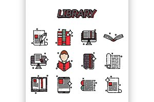 Library flat icons set