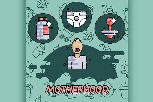 Motherhood flat conept icons