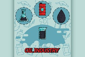 Oil industry flat concept icons