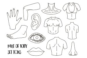 Body parts icons set