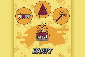 Party flat concept icons