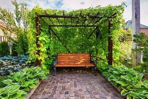 Bench in the home garden