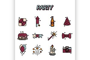 Party flat icons set