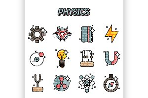 Physics flat icons set